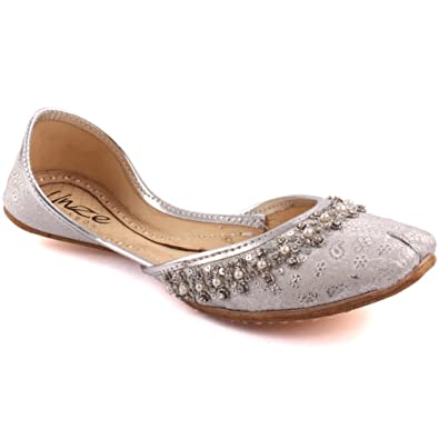 cfa8825adaa632 Unze Women Ladies Traditional CHERA Handmade Beaded Indian Casual Leather  Flat Khussa Slippers Shoes 8 UK