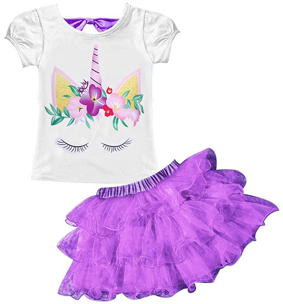 AOVCLKID Unicorn Costume Little Girls Dress up Toddler Baby Halloween Cosplay Outfit Kids Skirt Sets
