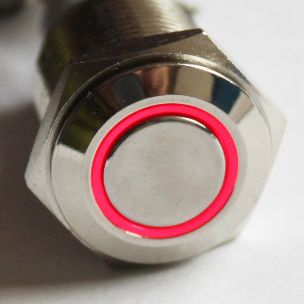 X-Haibei 1 Latching Push Button Power Switch 16mm 12v LED Stainless Steel Waterproof Red