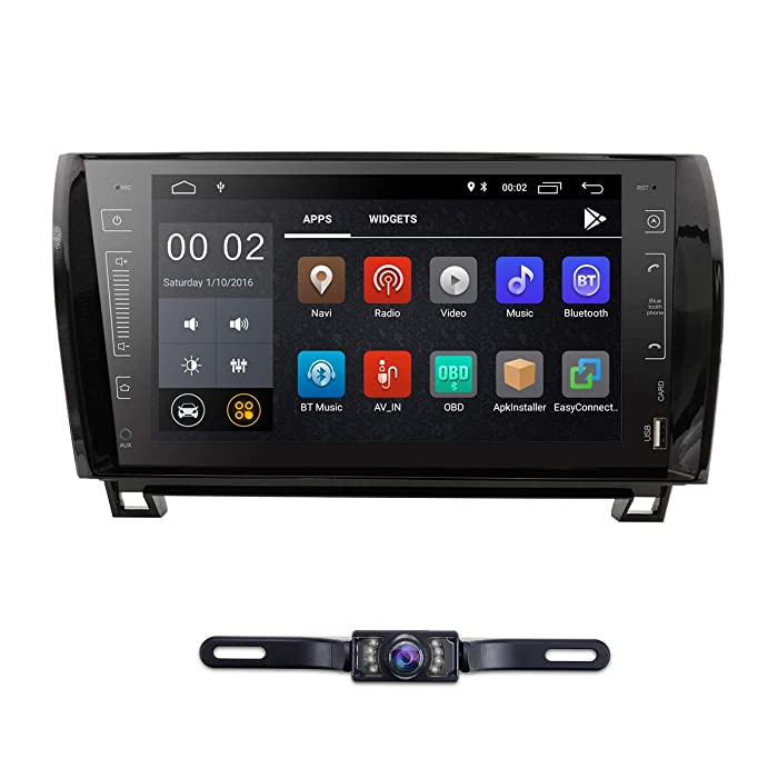 in Dash Android 8.1 Double Din 9 Inch Capacitive Touch Screen Car Stereo Video Receiver Player GPS Navigation with Bluetooth for Toyota Tundra Sequoia Multi-Media 7 Color Button Illumination