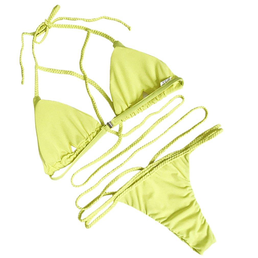 chicolife Damen Bandage Bikini Satz Sexi Push-up Gepolstert Halter Bandeau Mit Elastischem Verband
