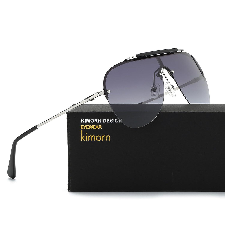 Kimorn Polarisé Lunettes De Soleil Hommes Rétro Pilotes Style Métal Cadre Des lunettes K0557 (Noir&Gris) SOyCuTSFz
