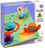Djeco - 84684 - Puzzle Bois - Tortue Et Amis - 5 Pièces