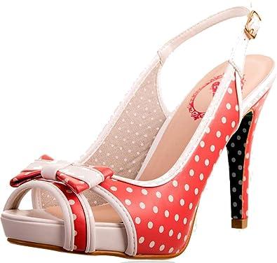 Banned Damen Schuhe Mary Lou Punkte Polka Dots Sling Pumps