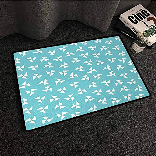 Slate Pinwheel - DILITECK Door mat Aqua Hipster Geometrical Pattern with Pinwheel Triangles and Slightly Grunge Look Country Home Decor W20 xL31 Turquoise White