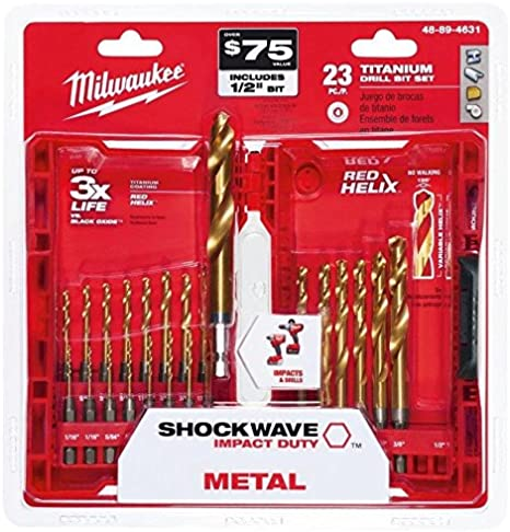 Milwaukee Titanium Shockwave Drill Bit Set Driver Kit Drilling Router ,-WH#G4832 TYG43498TY4-U55569 23 Piece