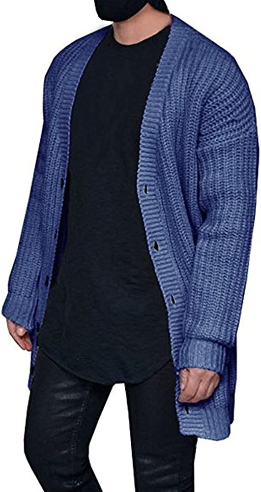 Mens Cable Knit Sweater Cardigan Winter Outerwear Open Front Button Closure with Pockets