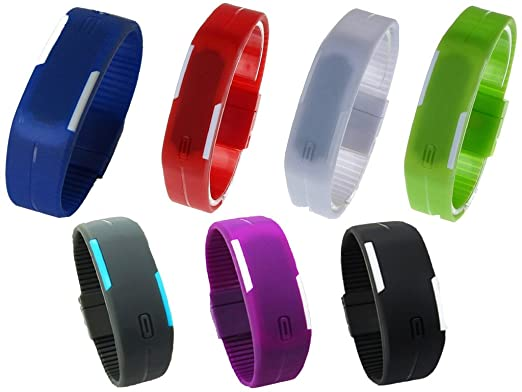 Amazon.com: HSW Ultra Thin LED Watch Bracelet Silicone Waterproof Digital Fashion Gym Running Sports Wrist Watches Band Strap Adjustable -Grey: Computers & ...
