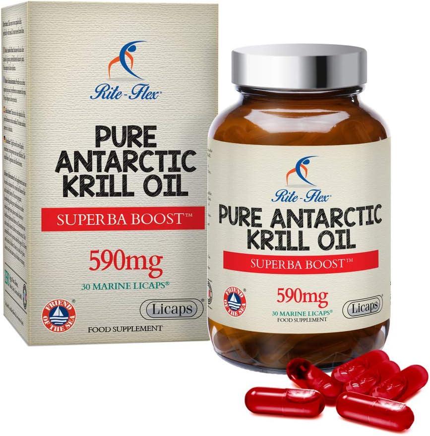 Aceite de krill antártico sostenible Rite-Flex Pure – 30 Licaps® Marine Superba Boost™ 590mg Ayuda al buen funcionamiento del corazón, la visión y el hígado - con fosfolípidos, colina y astaxantina