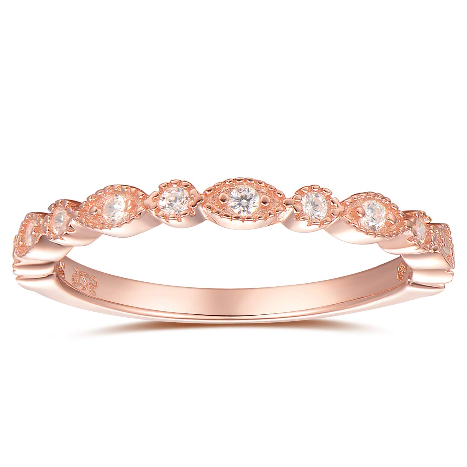espere Milgrain Marquise /& Round Cubic Zirconia Eternity Ring Stacking Infinity Wedding Band Sterling Silver Platium Plated or Rose Gold Plated Size 4-9