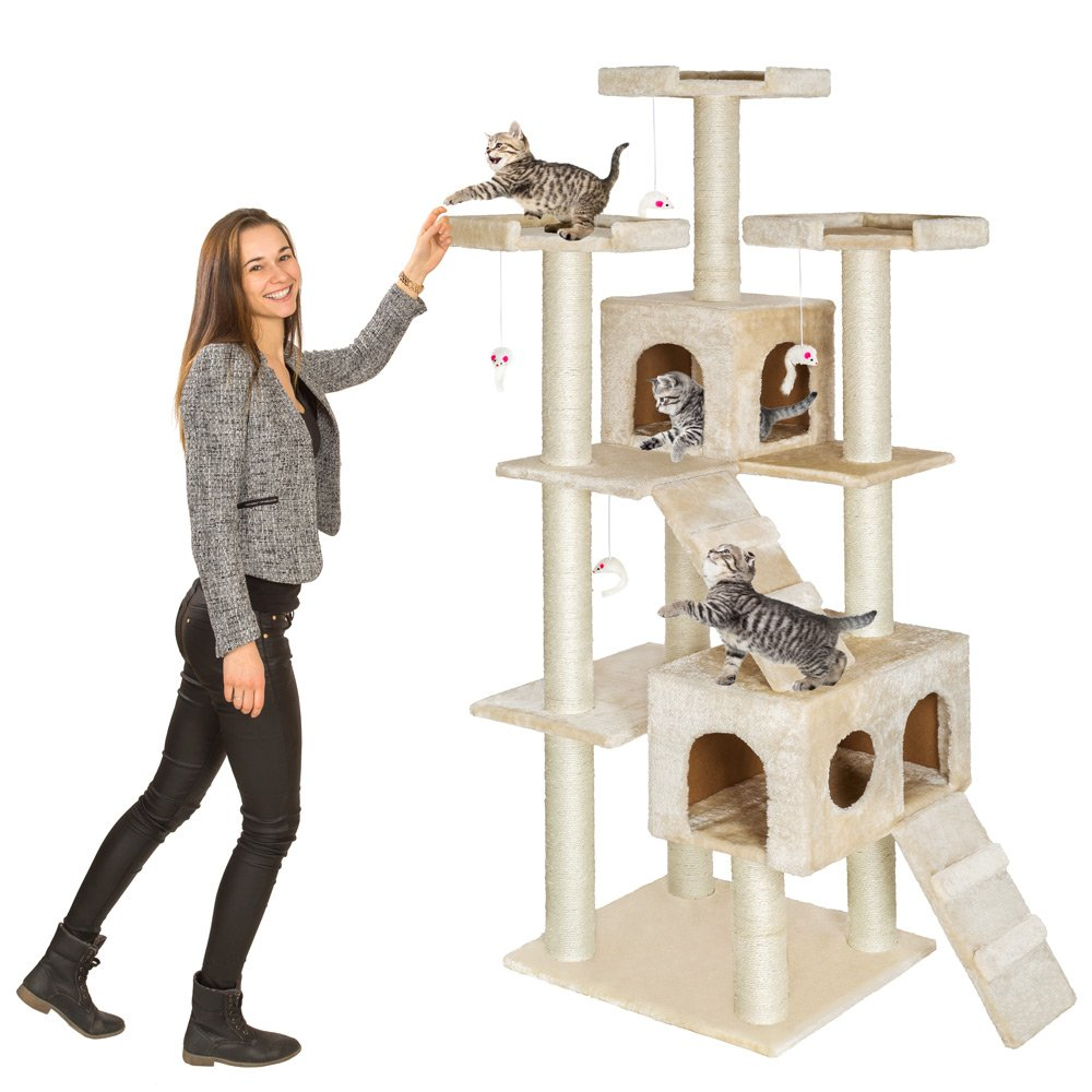 TecTake rascador para gatos /árbol para gatos sisal juguetes 186cm disponible en diferentes colores Beige | no. 400524