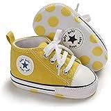 MABES WAREHOUSE Sapatos de lona para bebês – Sapatos de bebê de cano alto para meninos e meninas, tênis de sola macia para be