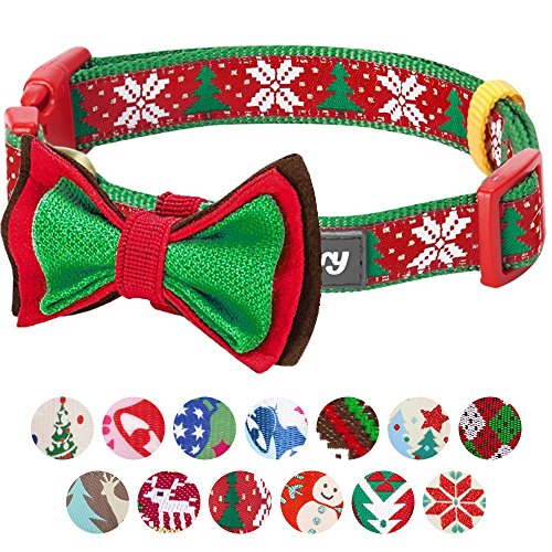 "Blueberry Pet 14 Patterns Christmas Joy Snowflakes and Trees Dog Collar with Detachable Bow Tie, Large, Neck 18""-26"", Adjustable Collars for Dogs"