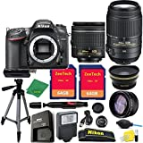 Great Value Holiday Bundle for D7200 with 18-55mm AFP + 55-300 VR + Tripod + 2pcs 64GB Memory Cards + Wide Angle + Telephoto + Reader + Lens Pen + Flash