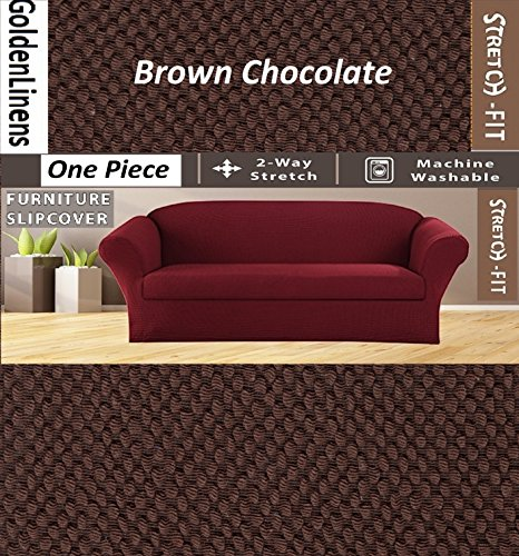 Golden Linens One Piece Sofa Furniture Slipcovers Fit Most Standard Sofas (Brown Chocolate)