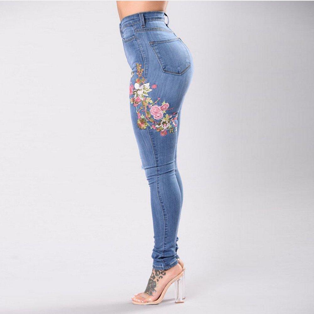 75f23d374cb7 Youthny Pantalon à Trous en Denim Élastique à Taille Haute Brodé pour  Femmes  Amazon.fr  Vêtements et accessoires