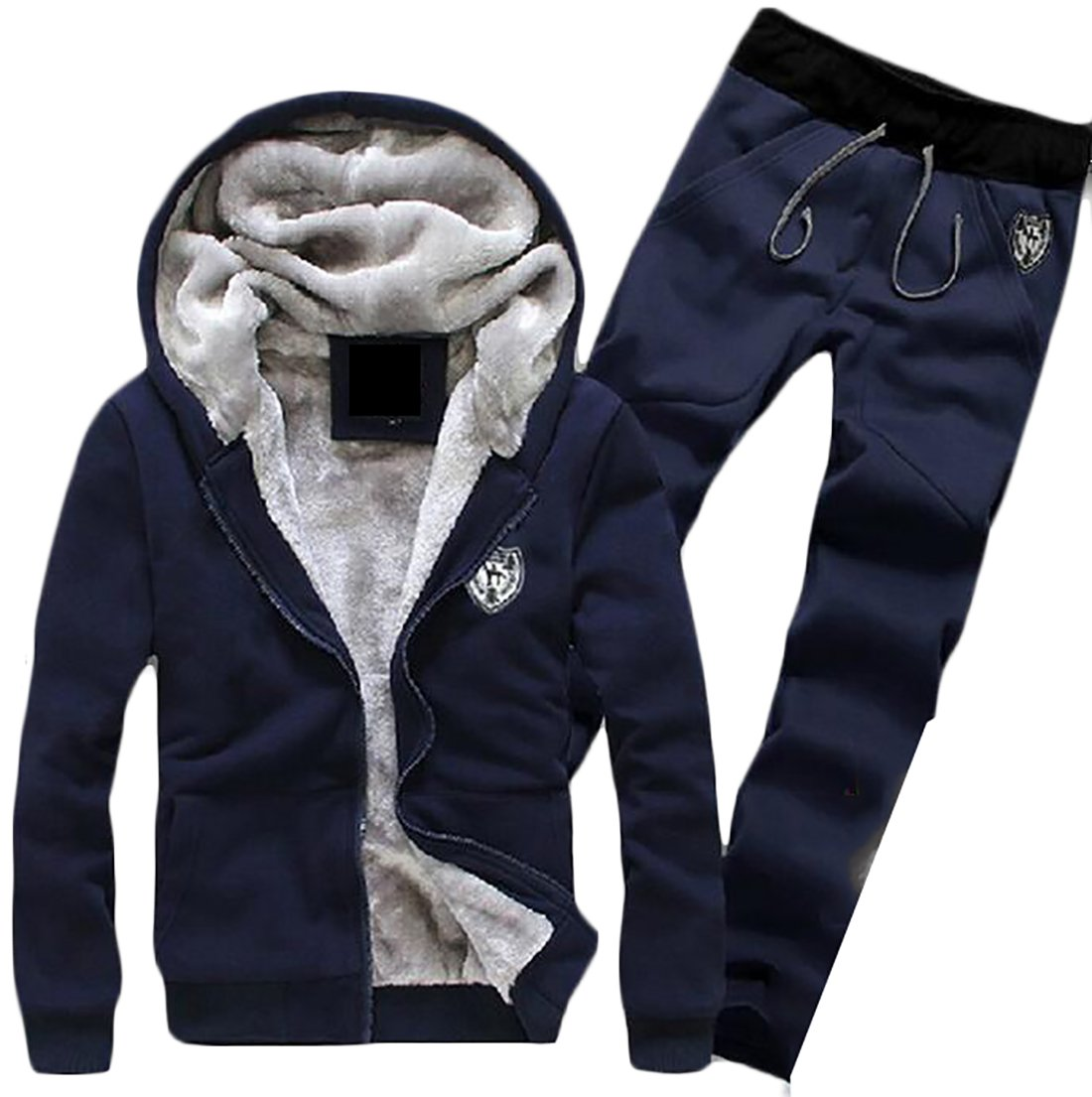 Zantt Mens Two Pieces Fleece Lined Hooded Sweatshirt with Sweatsuit Tracksuit Set