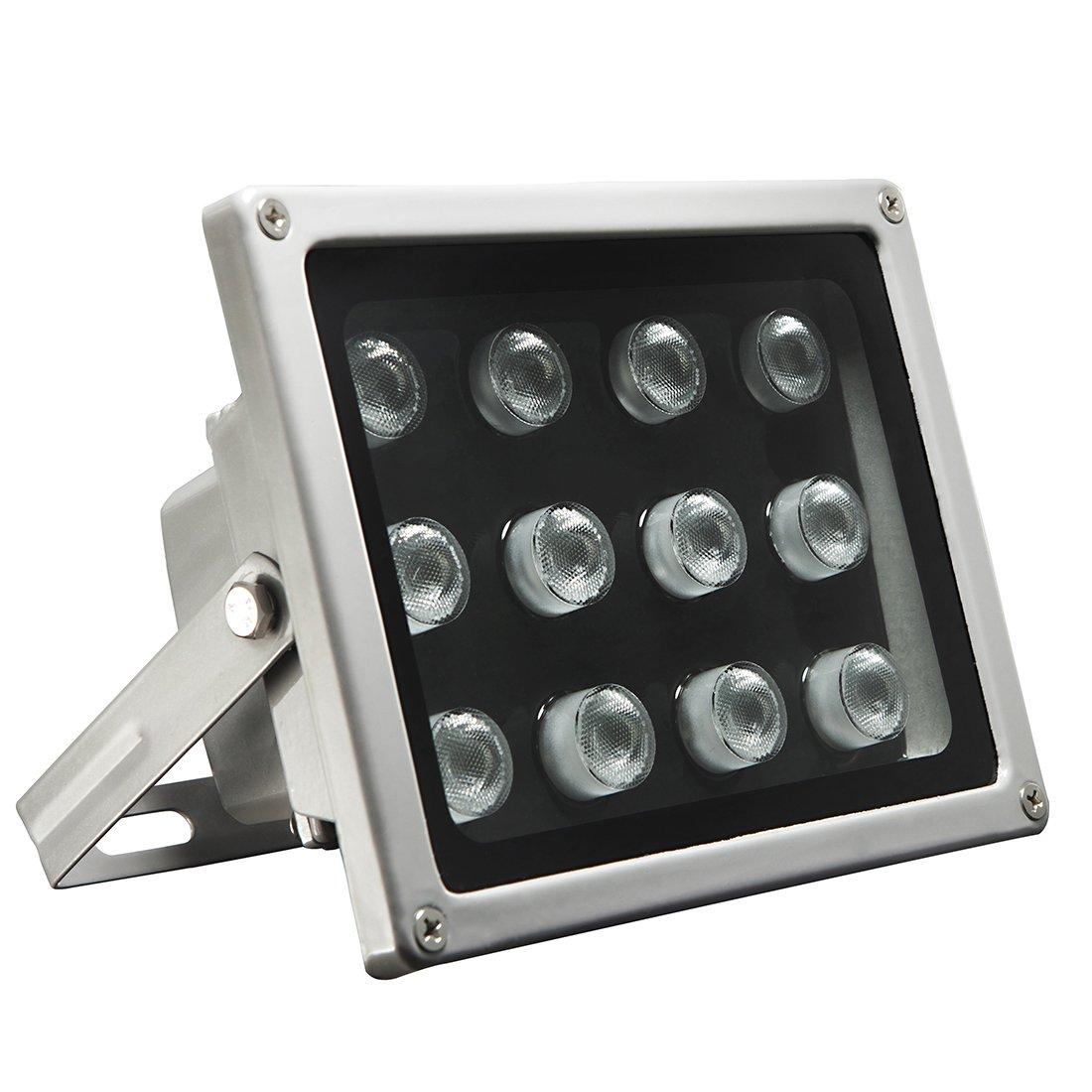 Univivi IR Illuminator,850nm 12 LEDs Wide Angle IR Illuminator for Night Vision,Waterproof LED Infrared Light with 12V DC Power Adapter for IP Camera, CCTV Security Camera