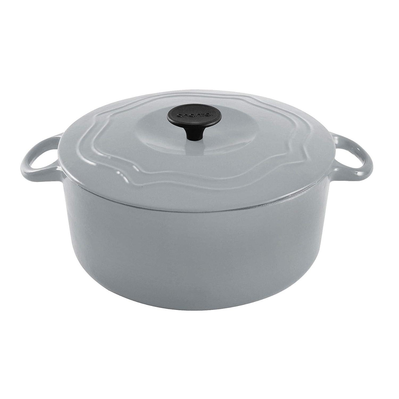 Chantal 5 Quart Porcelain Enameled Covered Cast Iron Dutch Oven Pot, Fade Gray