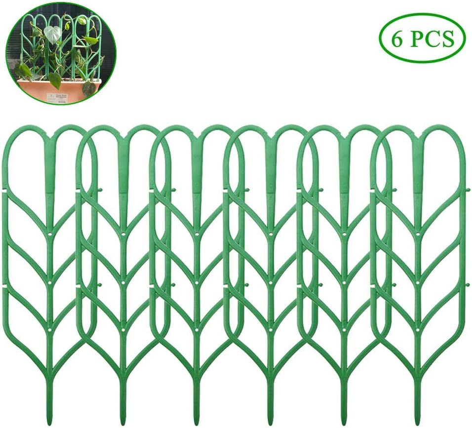 EY 6 Pieces Garden Trellis for Mini Climbing Plants Leaf Shape Plant Support DIY Flower Pot Support Vines Vegetables Flowers Patio Climbing Trellises for Ivy Roses Cucumbers Pots Supports