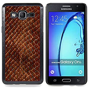 Snake Skin Pattern Brown Scales Reptile Art Caja protectora de pl??stico duro Dise?¡Àado King Case For Samsung Galaxy On5 SM-G550FY G550