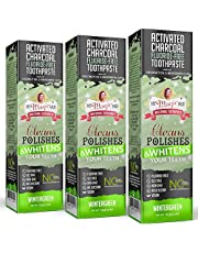 My Magic Mud Activated Charcoal Toothpaste for Whitening Deep Cleaning Polishing Detoxifying Brighter Teeth Reduces Sensitivity All Natural Oral Care Non-GMO Wintergreen 4 oz. (Pack of 3)