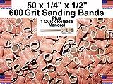 Generic QYUS4160215681309 Bands Sanding + /4'' 600 Grit Drums 50 - 1/ 50 - 1/4'' 600 rums Ba Dremel Dremel 1 - 3/32'' Mandrel '' Mandrel Dremel