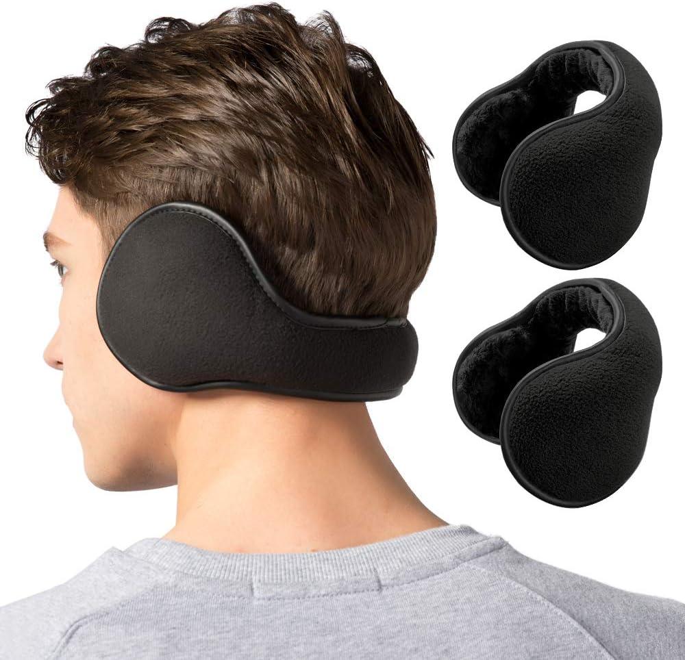 Lauzq Winter Ear Muffs for Men 1 Pack// 2 Pack Foldable Fleece Ear Warmers