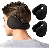 Winter Ear Muffs for Men & Women - Foldable Fleece Ear Warmers (1 Pack/ 2 Pack) - Pefer for Outdoor Cycling Running Skiing - Behind The Head Earmuffs