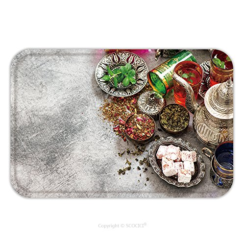 Delights Fancy Dress (Flannel Microfiber Non-slip Rubber Backing Soft Absorbent Doormat Mat Rug Carpet Tea Table Place Setting With Colorful Glasses And Oriental Delights 521233501 for Indoor/Outdoor/Bathroom/Kitchen/Works)
