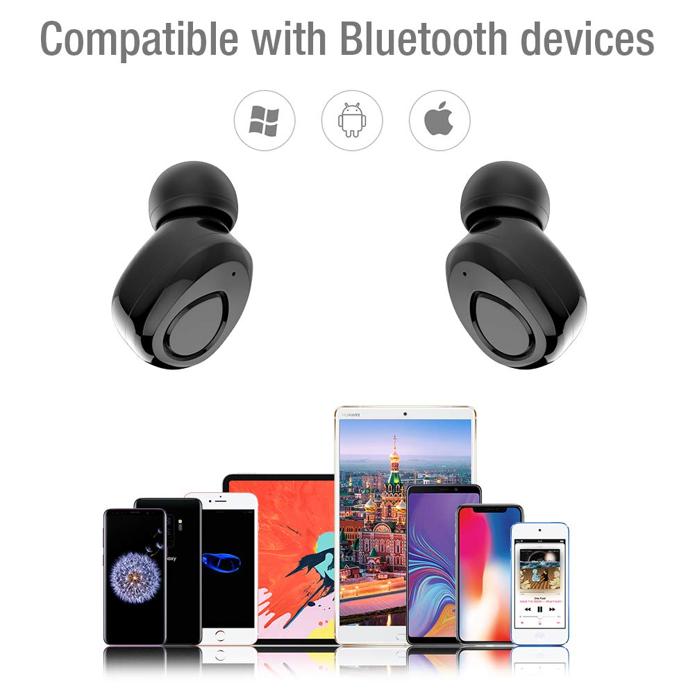 Wireless Earbuds,TNSO True Wireless Bluetooth Earbuds 15H Playtime 3D Stereo Sound,Built-in Microphone,Sweatproof in-Ear Earphones with Portable Charging Case by TNSO (Image #7)