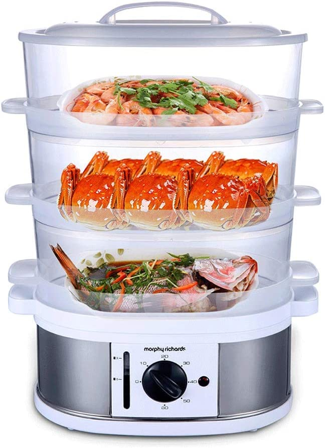 Electric food steamer, 3-layer vegetable steamer for timer cooking, BPA free, automatic electric steamer, steam cooker