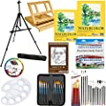 "US Art Supply 69-Piece Deluxe Watercolor Painting Set with, Aluminum Floor Easel, Wood Drawer Table Easel, 24-Tubes Watercolor Colors, 9""x12"" Heavy Wt Watercolor Painting Paper Pad, 11""x14"" Watercolor Painting Paper Pad, 5.5""x8.5"" Spiral Binding Sketch Pa"