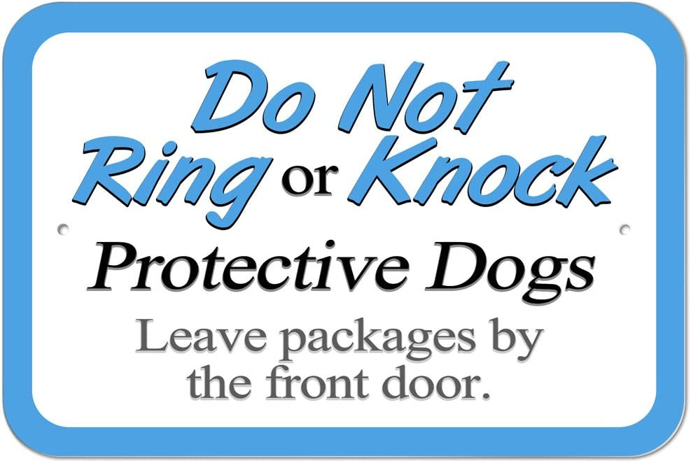 """Graphics and More Plastic Sign Do Not Ring or Knock Protective Dogs Leave Packages by Front Door - 6"""" x 9"""" (15.3cm x 22.9cm)"""