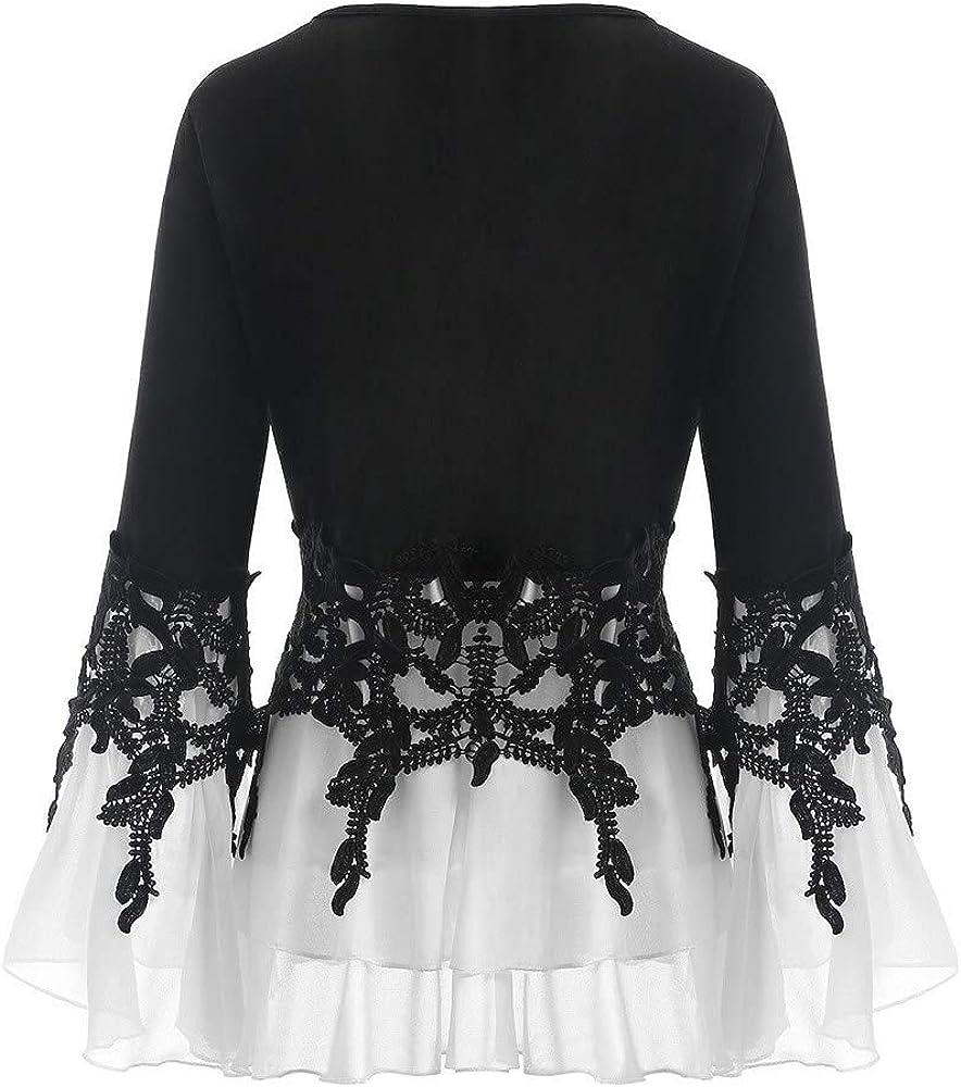 OTTATAT Sweaters for Women,2019 Autumn Winter Lady High Neck Stylish Solid Patchwork Irregular Hem Comfort Long Sleeves