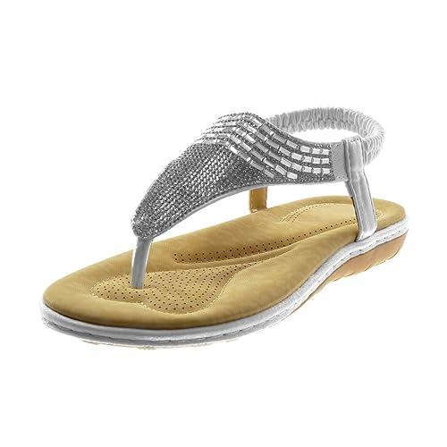 cfbb6a4148e Angkorly - Chaussure Mode Sandale Tong Slip-on salomés lanière Cheville  Femme Strass Diamant Bijoux