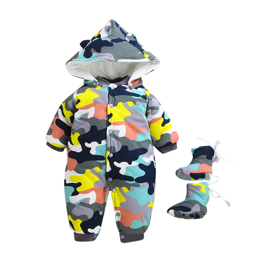 Gornorriss Baby Rompers Infant Toddler Boys Girls Plaid Hoodie Pocket Jumpsuit Clothes