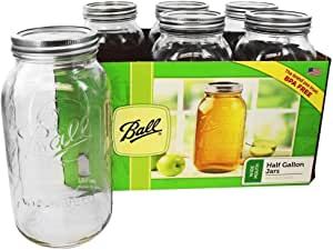 Ball - Wide Mouth 64 oz. Half Gallon Mason Jars - 6 Count