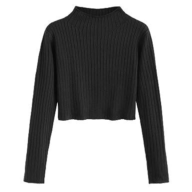 860124a973 ZAFUL Women s Mock Neck Long Sleeve Ribbed Knit Pullover Crop Sweater  (Black