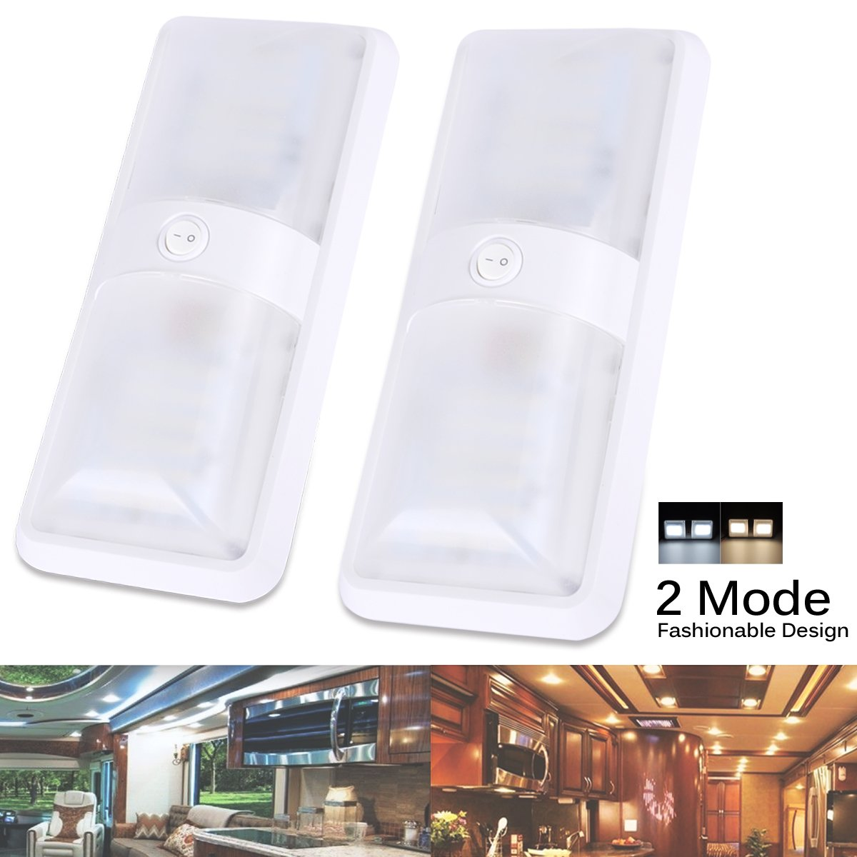 AutoEC LED Dome Light, 2 Color Mode 12V LED RV Ceiling Dome Light Fixture, Interior Replacement Light for RV, Trailer, Camper, Motorhome, Boat (2 Pack)
