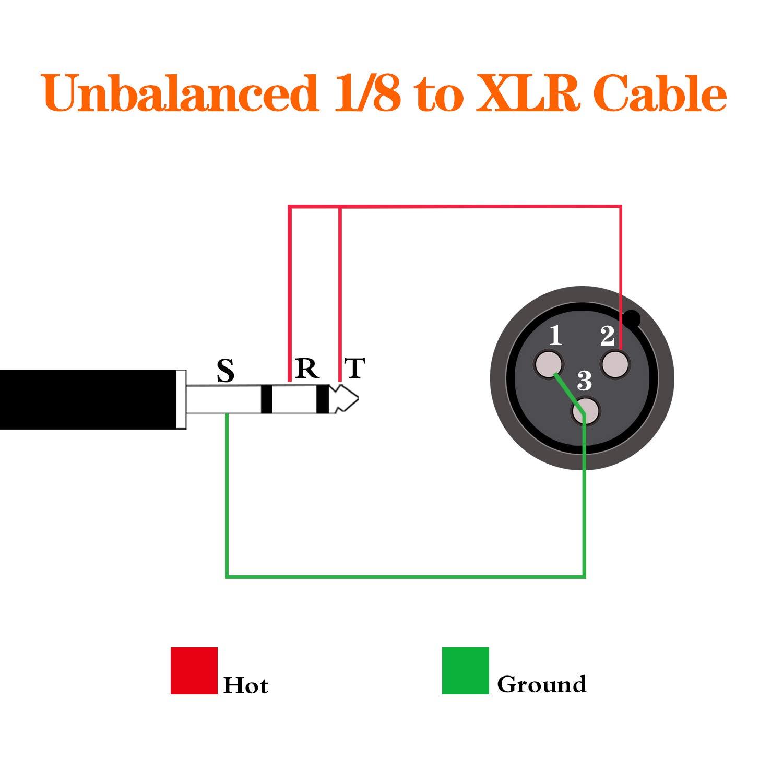 Tisino 3.5/mm TRS stereo sbilanciato cavo Mini jack 3.5/mm a XLR maschio a XLR cavo 50/cm