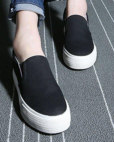 Sfnld Damesschoenen Met Oplopende Hoogte Op Canvas Schoenen Sneaker Zwart