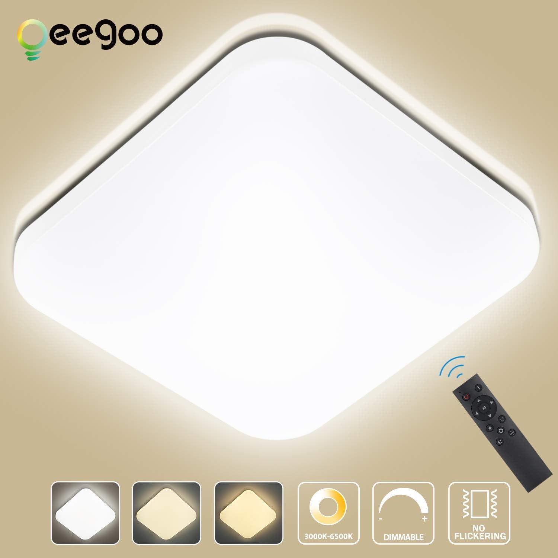 Oeegoo 24W Regulable LED de Luz de Techo Cuadrado, Lámpara de ...