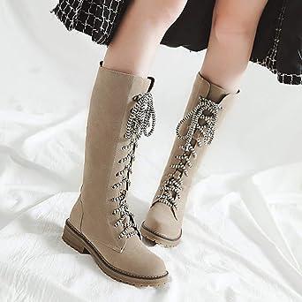 Amazon.com: Faionny Women Flat Flock Boots Lace-Up Shoe Shoes Round Toe Boots Suede Ankle Boots Warm Snowshoes: Clothing