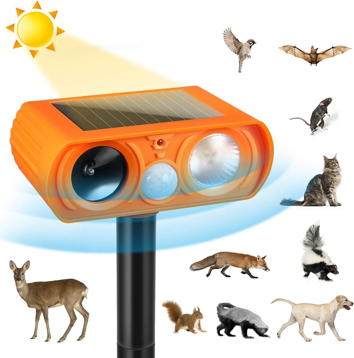 Luckkya Ultrasonic Dog Repellent,2020 Orange Ultrasonic Animal Repellent with Motion Sensor and Flashing Lights Outdoor Solar Powered Waterproof Farm Garden Yard Repellent,Dogs, Cats, Birds, Foxes