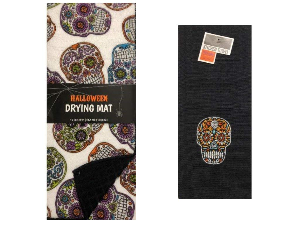 Day of The Dead Home Seasonal Decor Halloween Sugar Skull Drying Mat and Kitchen Towel Set