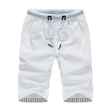 c9dae358d4 OHQ Pantalon De Sport pour Homme Short Plage Raccourci Kaki Bleu Blanc  Foncé Hommes Shorts Maillots