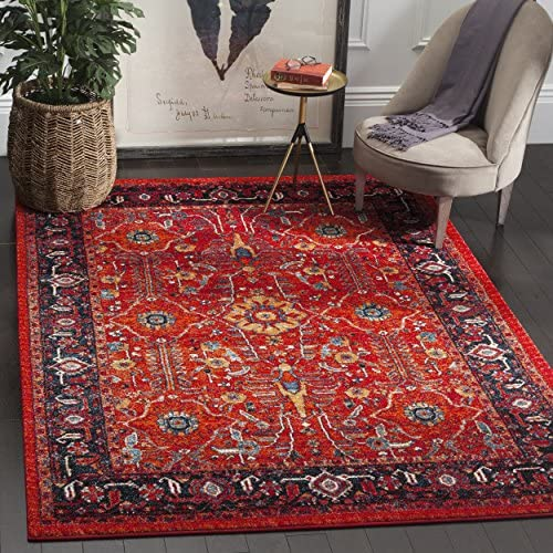 Safavieh Vintage Hamadan Collection VTH220C Oriental Antiqued Orange and Navy Area Rug 9 x 12