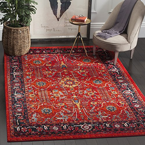 Safavieh Vintage Hamadan Collection VTH220C Oriental Antiqued Orange and Navy Area Rug 4 x 6