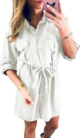 Blusa Casual para Mujer Vestido Manga Larga Botón Abajo Algodón Blusas Talla Grande: Amazon.es: Ropa y accesorios